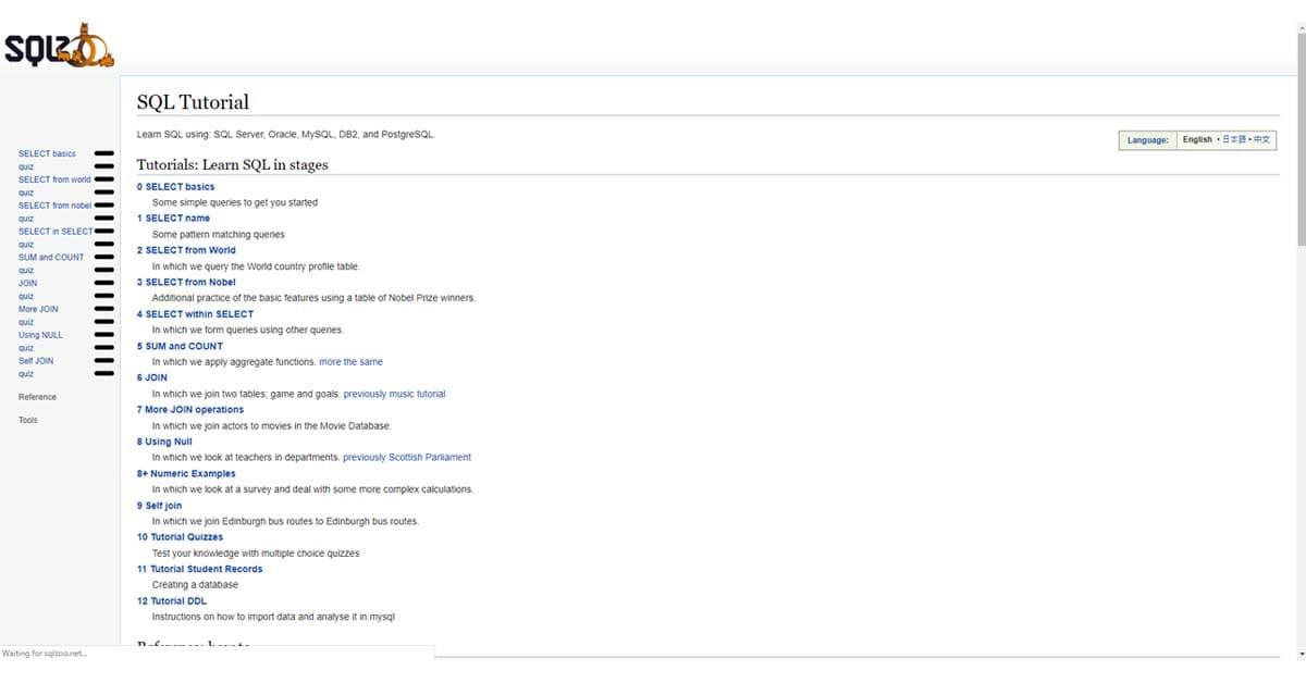 Trang web dạy học Lập trình tốt nhất, miễn phí: SQLZOO
